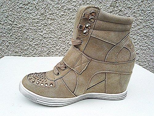 fashionfolie Compensées Chaussures Montante Baskets Fille 12 Taupe Femme Talon Lacet rxgIr1