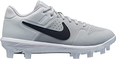 purchase cheap 72699 99d66 Nike Kids  Alpha Huarache Varsity Baseball Cleats (4, Grey Black)