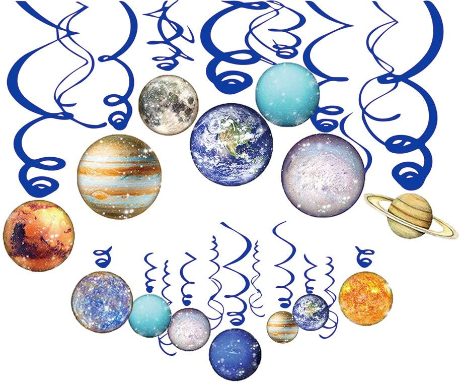 Space Party Decoration, Solar System Hanging Swirl Decorations Birthday Party Supplies for Boy/Girl/Kids Space Themed Birthday Party Home Classroom Décor 30PCS