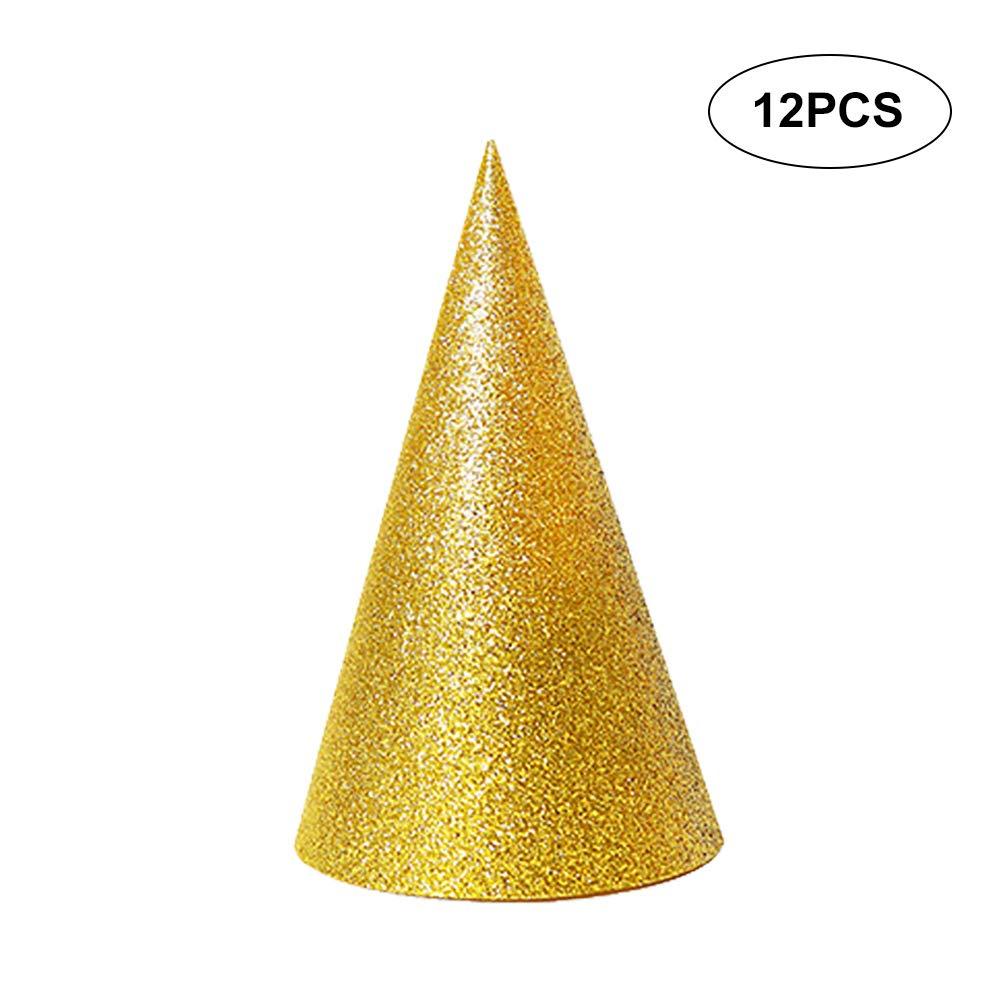 El cumpleañ os de los conos 12pcs Glitter Sombreros Sombreros para niñ os y adultos Suministros Triá ngulo decoraciones festivas (rosa) Wudi