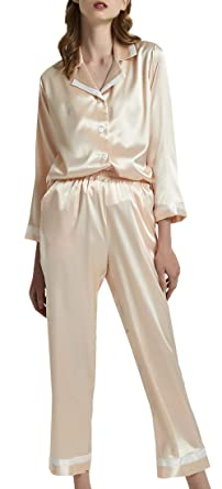 9828423fba56 Airvid Pajama Sets Womens Classic Satin Sleepwear Loungwear Pjs Top with  Bottoms Champagne US S