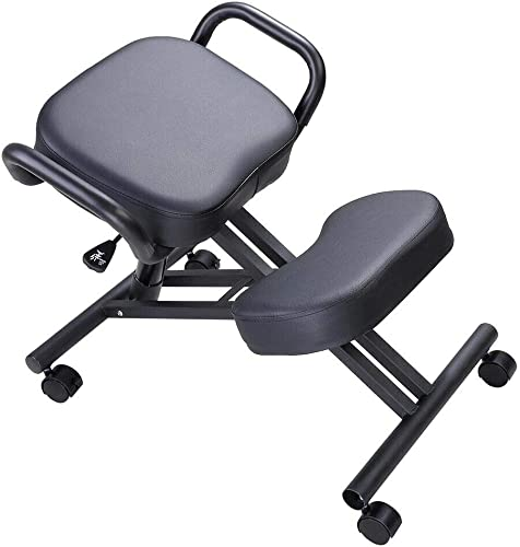 SuccessfulHome Ergonomic Kneeling Chair, Ergonomic Posture Corrective Chair, Knee Stool for Bad Back, Adjustable Stool with Thick Seat Handle, Office and Home Work Chair, Wheel Chair for Moving, Black