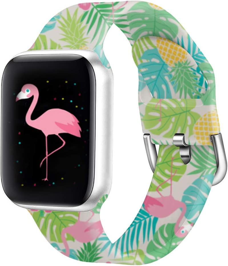 Idealiveny Rubber Band Compatible with Apple Watch Band Series 5 4 3 2 1 Women Silicone Replacement for Iwatch 38mm 40mm 42mm 44mm Double Side Pattern Soft Wristband(Flamingo Pineapple, 38/40MM-S/M)
