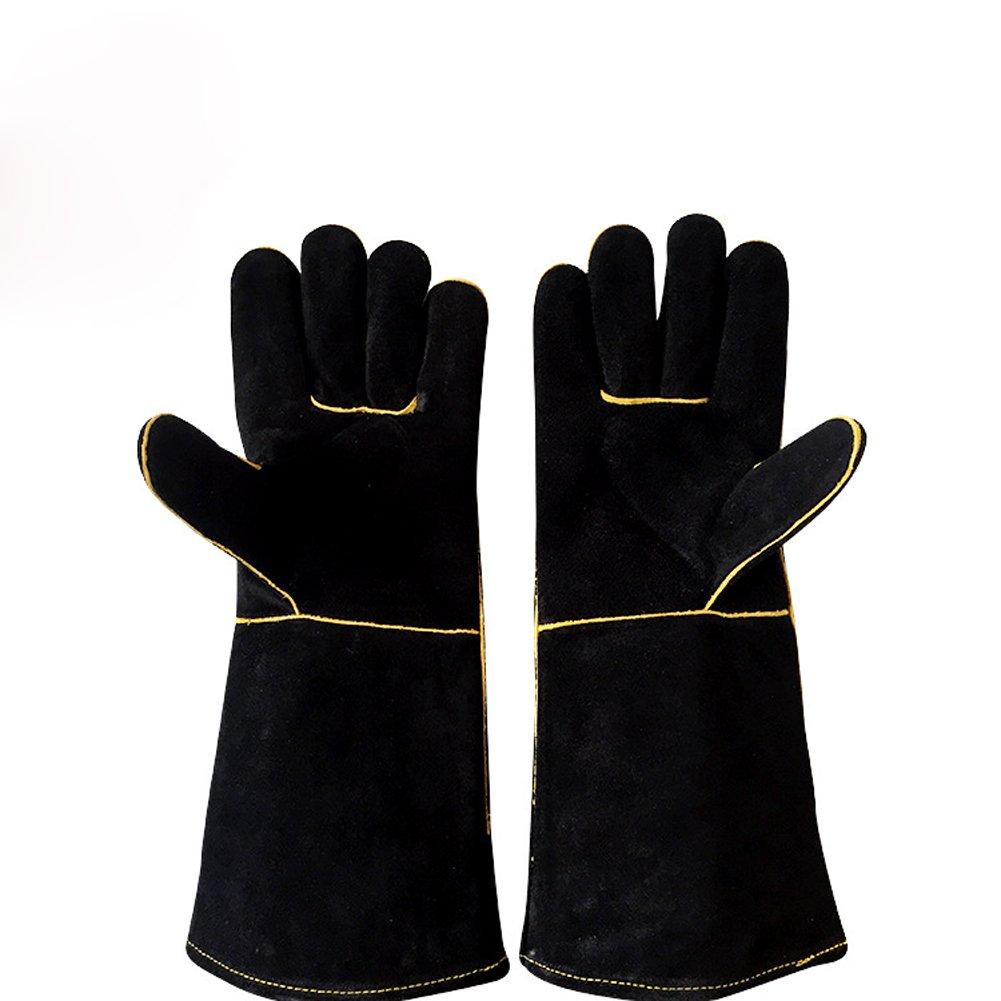 Black Welders Gloves Cow Split Leather Factory Gardening Welding Wood Stove Work Gloves Heat Resistant (1) Chengsan