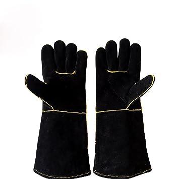 Guantes de soldadura negros de cuero dividido para jardinería de fábrica de madera de soldadura, guantes de trabajo resistentes al calor, ...