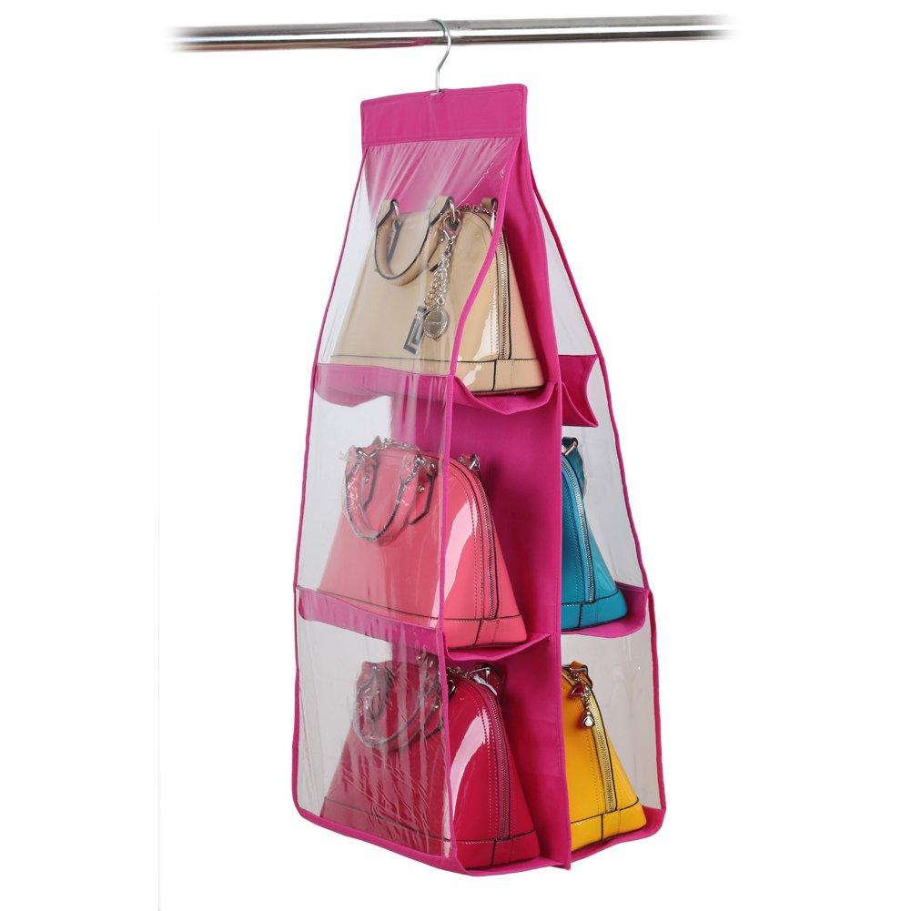 Chinatere ES03 Organizador Colgador de bolsos para el armario con 6 bolsillo fucsia product image