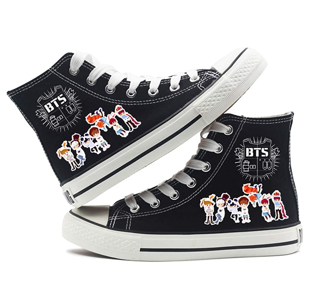 6752a6c8e Amazon.com  BTS Bangtan Boys Canvas Shoes Jungkook Jimin V Suga Casual Shoes  For Girls Women Merchandise  Clothing