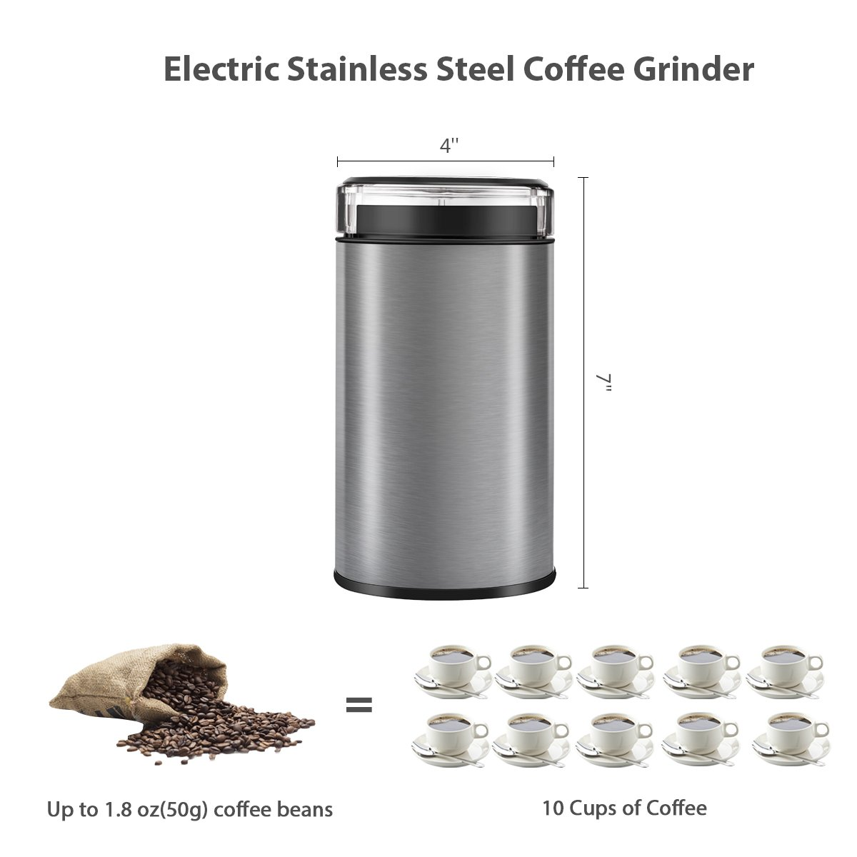 Coffee Grinder Electric, TOBOX Multifunctional Stainless Steel Blade Coffee Grinder Fast Grinding Coffee Beans, Nuts, Grains, Spices (Sliver) by TOBOX (Image #4)