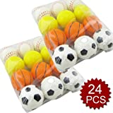 GOGO 24PCS Foam Sports Ball Toy, Stress Relief Squeeze Basketball