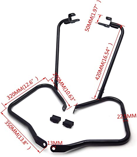 Saddlebag Guard Brackets Crash Bars Supports Compatible With Harley Touring FLHX FLHR 14-19 HTTMT US-TGHD-SG04-BK