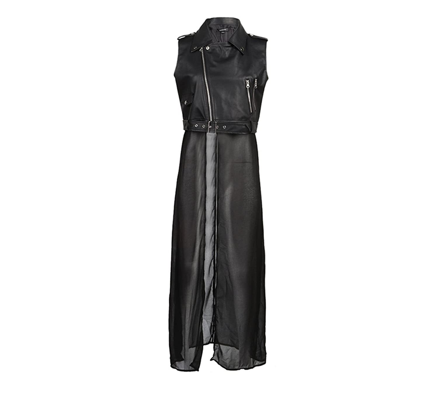 Fashion Womens Punk PU Leather Motorcycle Jacket Vest With Chiffon Dress at Amazon Womens Coats Shop