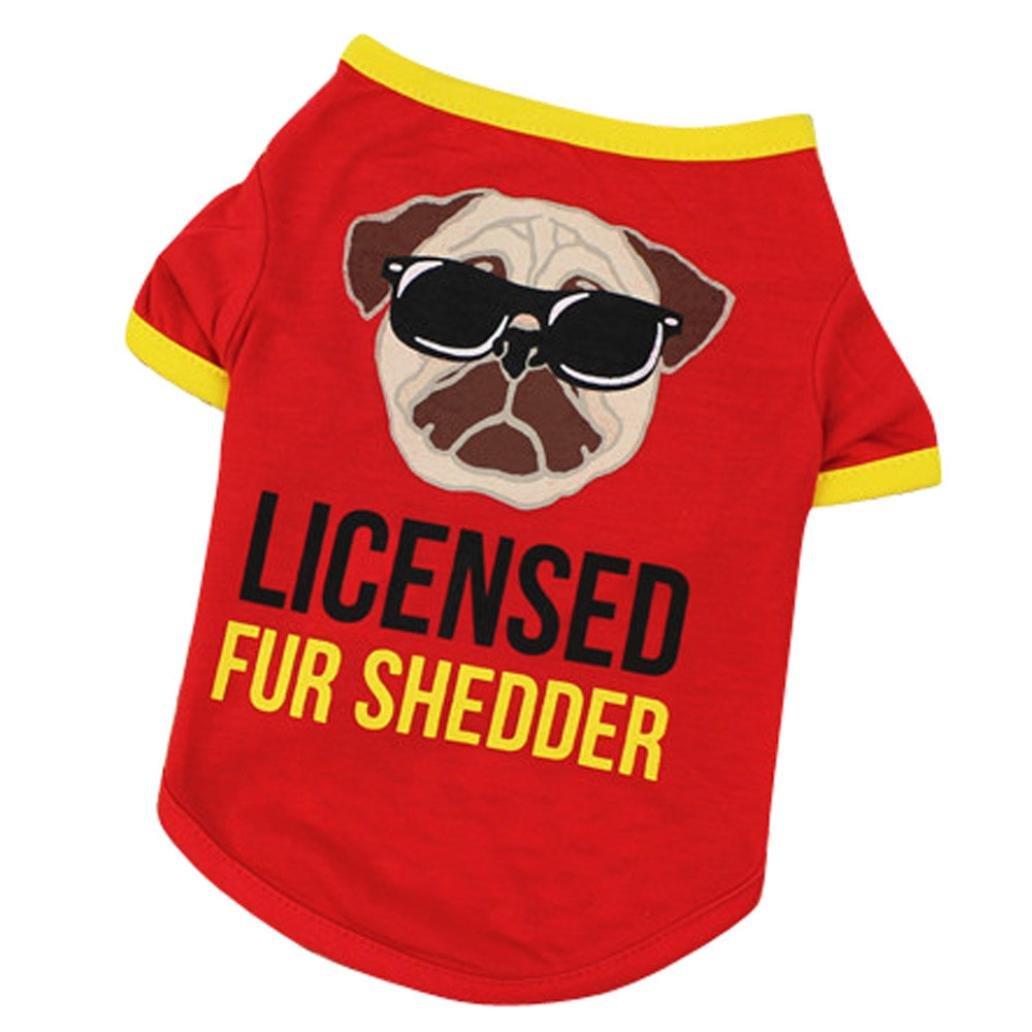 ホットセール犬シャツ、Han shi子犬Luxury印刷ベストソフトコスチュームタンクトップPJs B07C8KPVZY  レッド Large