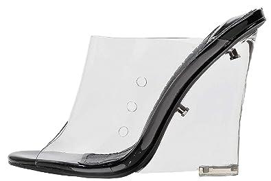 7e4aaa4c296b Mackin J 405-1 Women s PVC Lucite Clear Wedge Heel Open Toe Slip On Mule