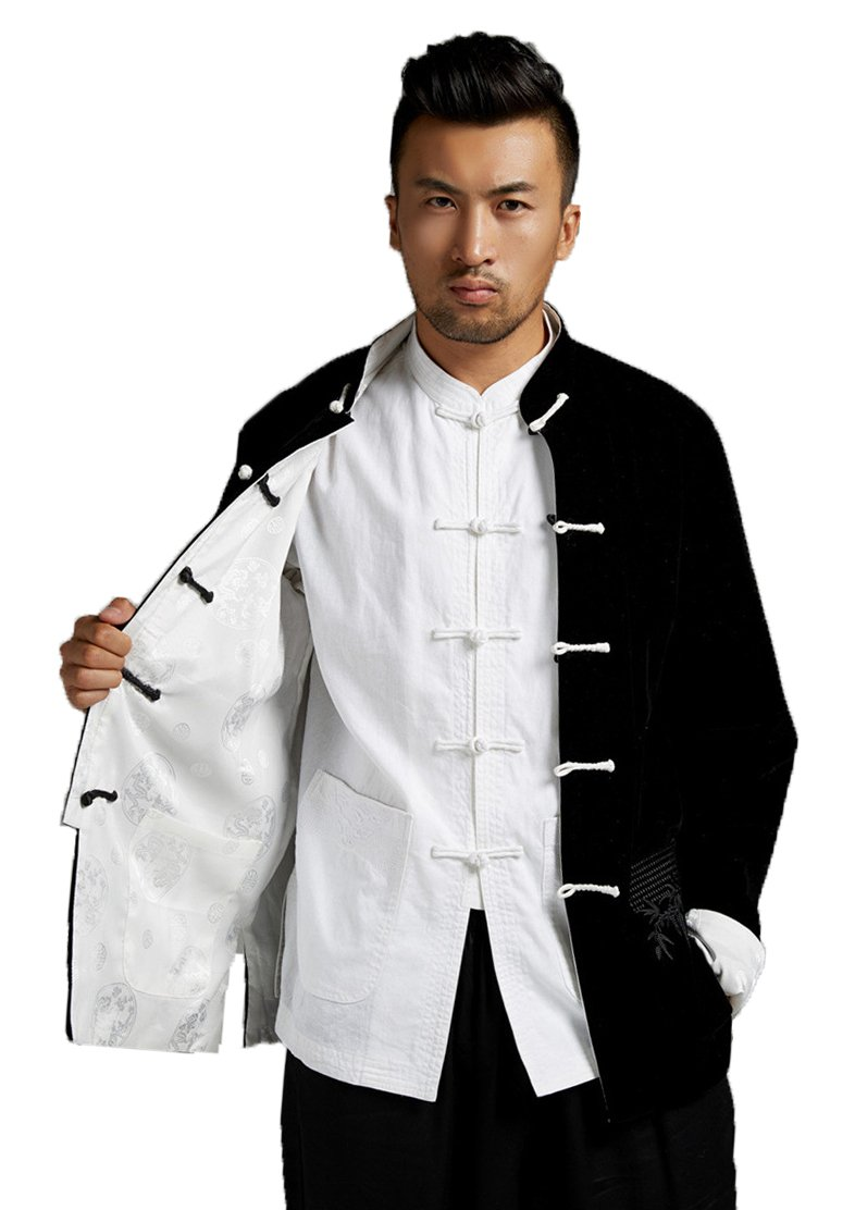 ezShe Men's Long Sleeve Fashion Reversible Jackets Chinese Tang Suit, BW L