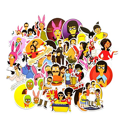 34 Pcs Bob's Burgers Cartoons Stickers Kids Toy Sticker for Luggage Laptop Wall Car Phone Waterproof