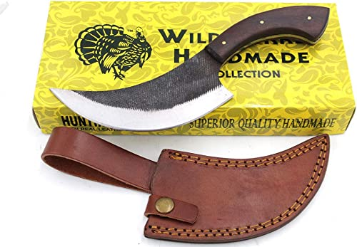 Wild Turkey Handmade Full Tang Real File Hunting Knife w Leather Sheath Outdoors Hunting Camping Fishing Outdoors