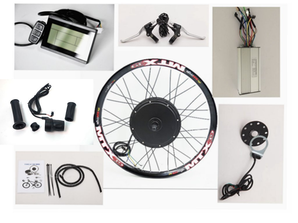 50KM/H 36V/48V 1000w brushless gearless hub motor ebike conversion kit, Sunringle MTX33 Bicycle 20''-28'' Double-wall Alloy Rims , Brushless DC Sine Wave Controller with LCD Display.