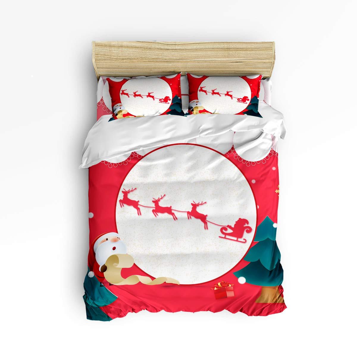 Z&L Home 寝具4点セット 掛け布団カバーセット 赤 クリスマス サンタクロース スレッド フルムーン ラグジュアリー ソフト フラット シーツセット 装飾的 枕カバー ティーン 女の子 男の子 男性 女性 子供 フル 1026WEFHUVLYX3I#SF2SWTQ00472SJTBZLH B07JR113X2 Santaclaus29 フル