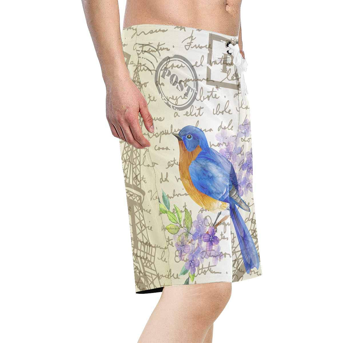INTERESTPRINT Mens Board Shorts Sketching Paper Butterfly Quick Dry Swimwear Water Beach Shorts XS-6XL