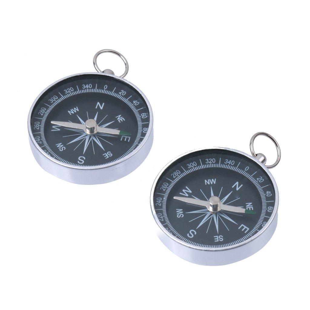 Aluminium Outdoor-Camping-Wander-Navigation Kompass Mit Schlüsselanhänger Silber 2pcs Generic