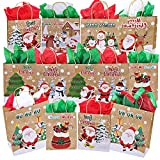 13 Pcs Christmas Holiday Party Gift Bags Favor Bags Treats Bags Goodie Bags Gift Wrapping Ornament Snowman Reindeer Santa Owl Sock Tree Bear Penguin Rustic Kraft Gift Bags