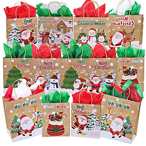 Santa Bear Ornament - 13 Pcs Christmas Holiday Party Gift Bags Favor Bags Treats Bags Goodie Bags Gift Wrapping Ornament Snowman Reindeer Santa Owl Sock Tree Bear Penguin Rustic Kraft Gift Bags