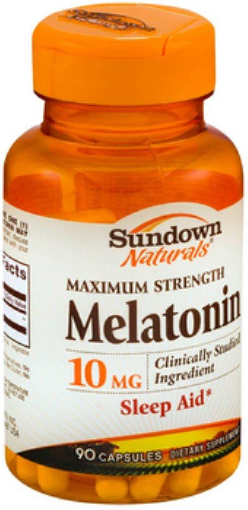 Sundown Naturals Melatonin 10 mg Capsules, 90 Count (Pack of 12)
