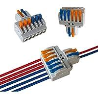 Aiqeer 6 Piezas KV426 Palanca Tuerca Cable Conectores Set, 2 in 6 out Conector Conductor Compacto, Bilateral Rápido…