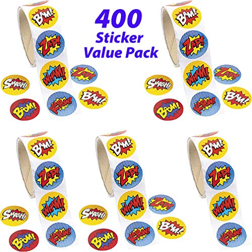 (Superhero Sticker Rolls for Kids - 4 Rolls Assorted Superhero Sticker Pack Included 400 Stickers | Party Supplies, Goody Bag Fillers, Party Favors, Prizes, Scrapbooking Stickers, Novelty Toys | Wham!)