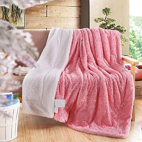DaDa Bedding Luxury Rose Buds Blushing Lavish Luxe Soft Warm Cozy Plush  Reversible Sherpa Fleece Throw