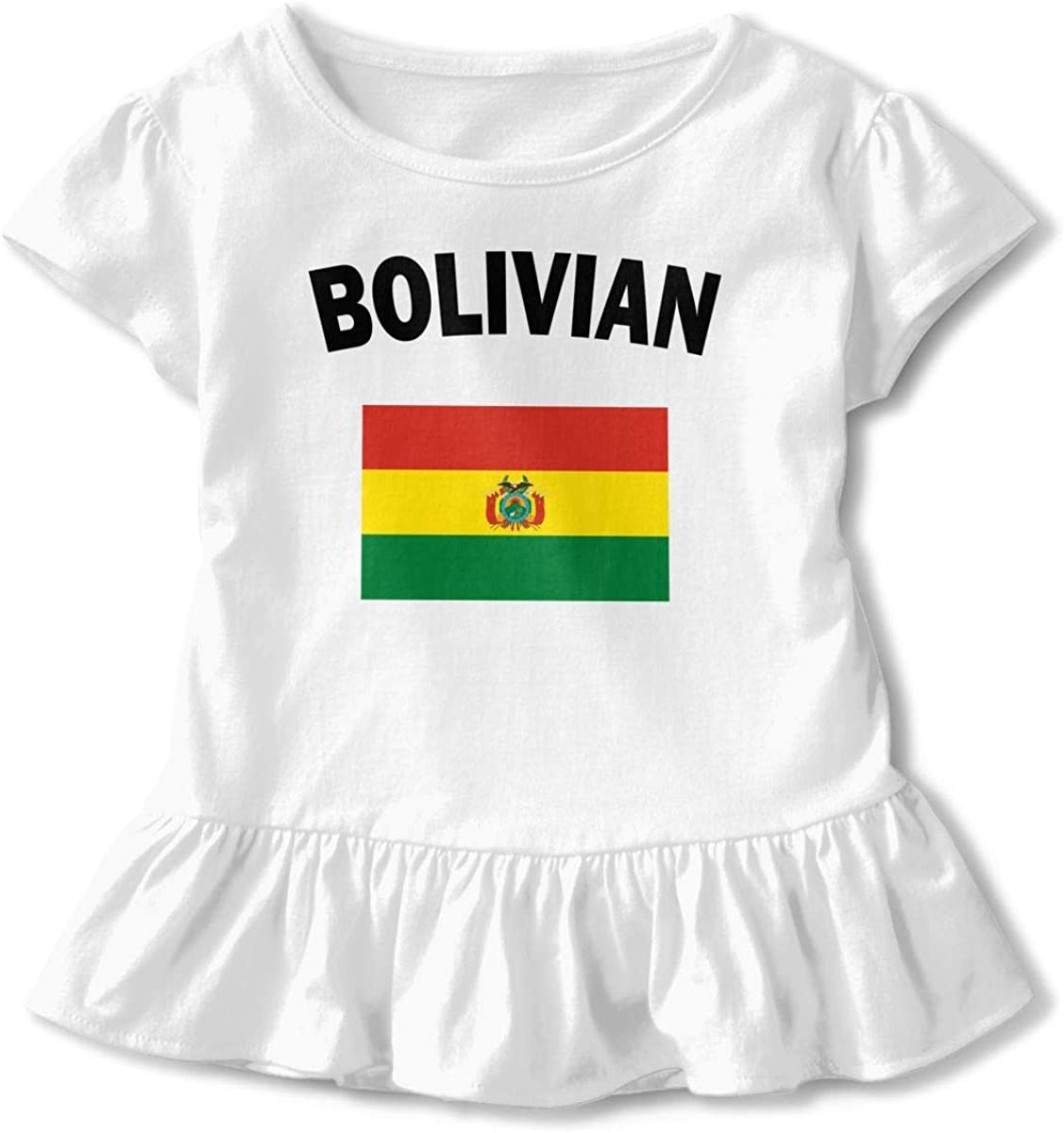 HelloWorlduk Toddler Baby Girl Bolivian Flag Funny Short Sleeve Cotton T Shirts Basic Tops Tee Clothes