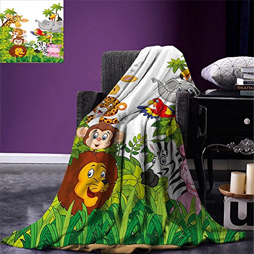 smallbeefly Nursery Throw Blanket Cartoon Style Zoo Animals Safari Jungle Mascots Collection Tropical Forest Wildlife Warm Microfiber All Season Blanket for Bed or Couch Multicolor