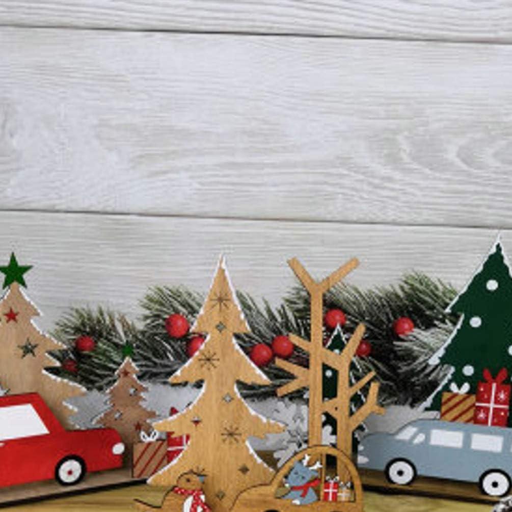 Vosarea mesa de madera de árboles de Navidad con los alces de ...