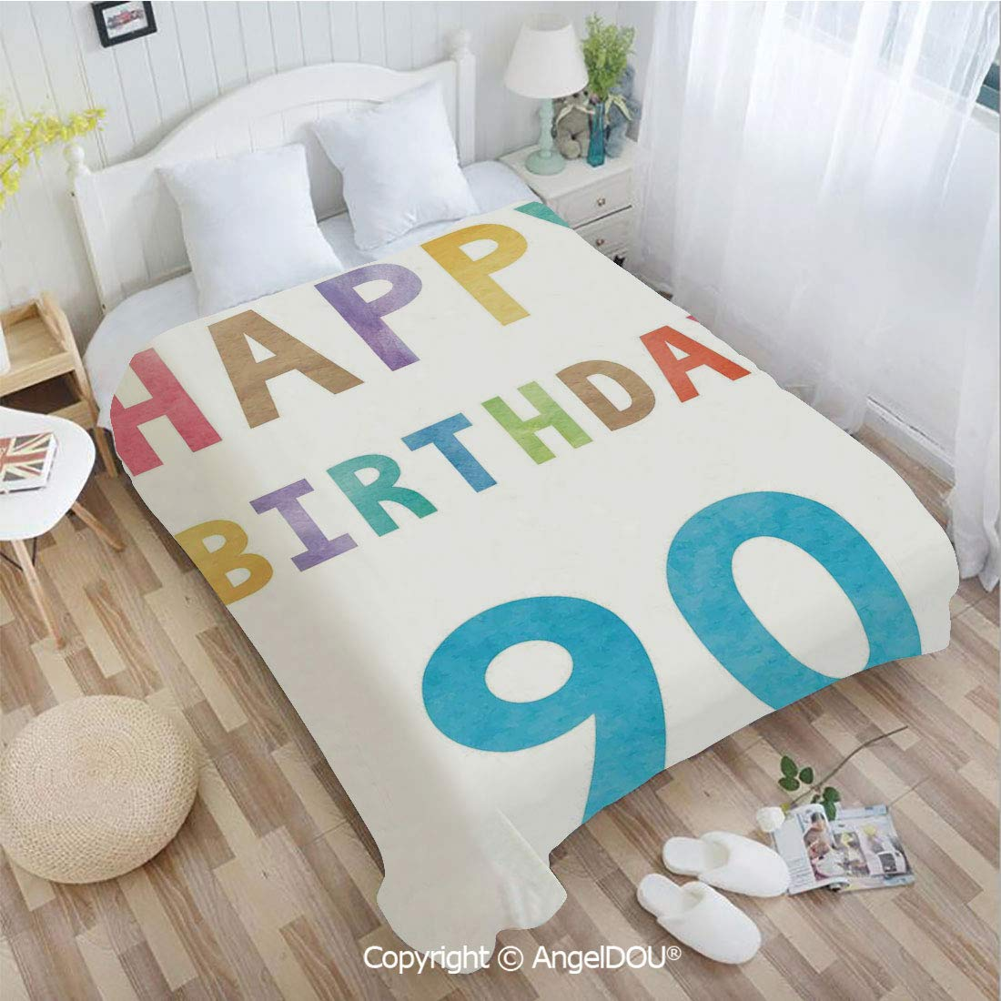 """AngelDOU Bedspread Portable Car Air Conditioner Blanket Happy Greeting Lettering in Watercolors Pastel Text Paint Image for Home Couch Outdoor Travel 31"""" Wx47 L"""