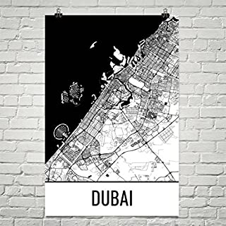 Carte de Dubaï, Art de Dubaï, Impression de Dubaï, Affiche des Émirats arabes unis, Cadeaux de Dubaï, Art mural de Dubaï, Cadeaux des Émirats arabes unis, Carte des Émirats arabes unis Affiche 24'x36'