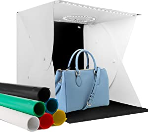 "Elegant Choise Photo Box 16"" x 16"" Photo Studio Shooting Tent Top Hole Folding Table Photography Light Box Kit with 6 Color Background for Product Photography"