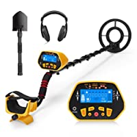 URCERI GC-1028 Metal Detector High Accuracy Waterproof 2 Modes Outdoor Gold Digger with Sensitive Search Coil LED Display for Beginners Professionals, Yellow