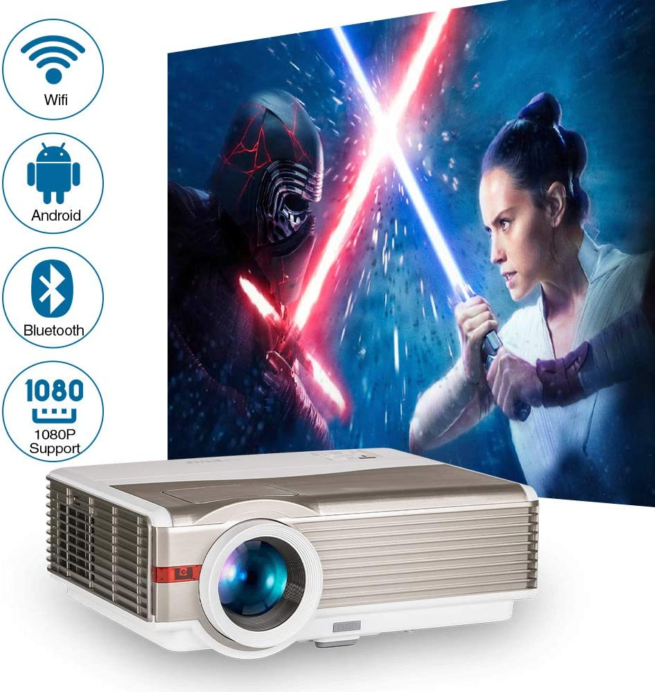 5000 Lumens LED LCD Smart HD Movie Projector Bluetooth Wireless Support 1080P Bluetooth Wifi TV Video Projectors with USB HDMI Input Keystone for Home Theater Outdoor Gaming Xbox PS4 Phone Laptop DVD