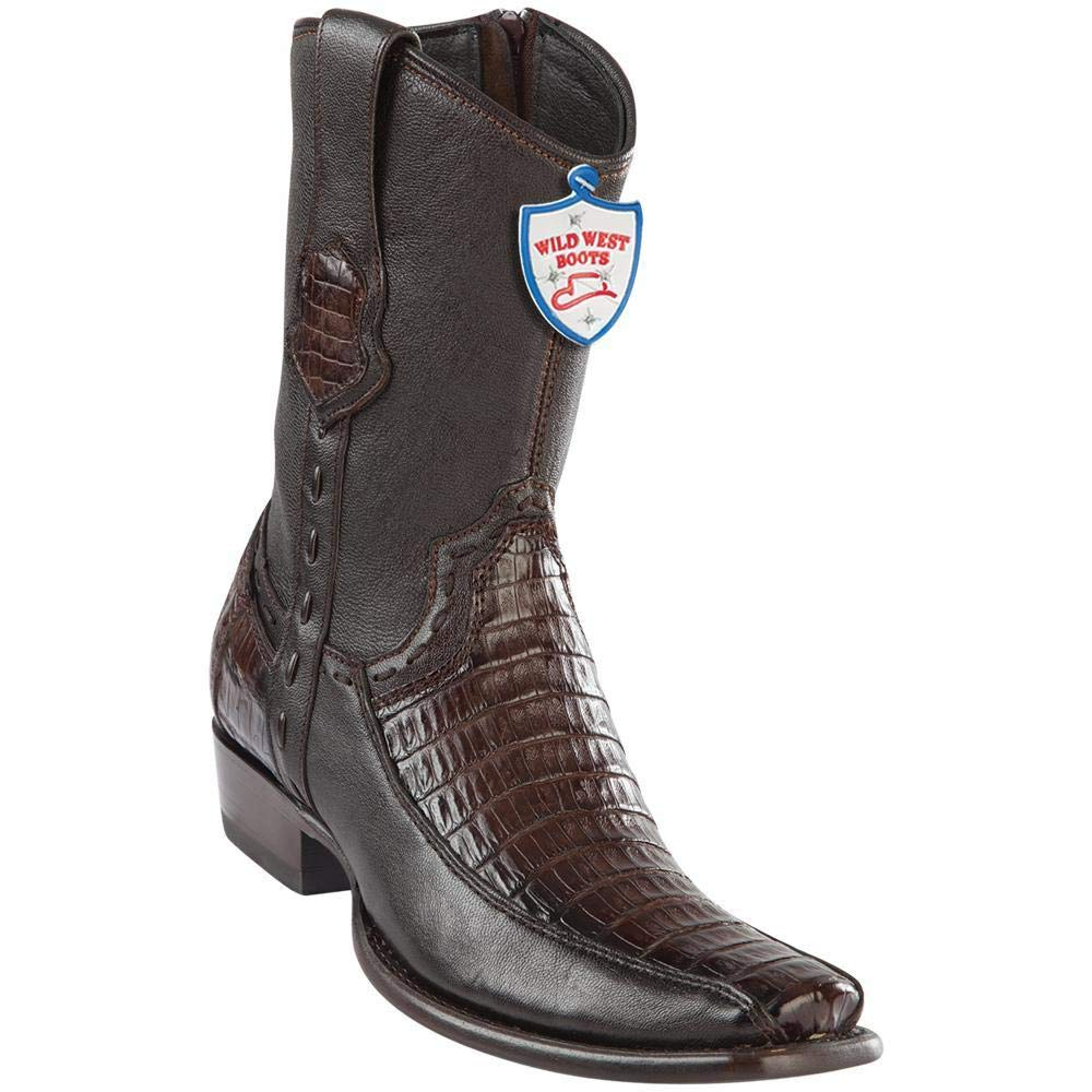 WILD WEST BOOTS Mens Genuine Leather Caiman Belly and Deer Dubai Toe Short Boots