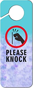 Please Knock Plastic Funny Tie Dry Door Knob Hanger Sign for Home Office Hotel Decoration 9.43.5 Inch