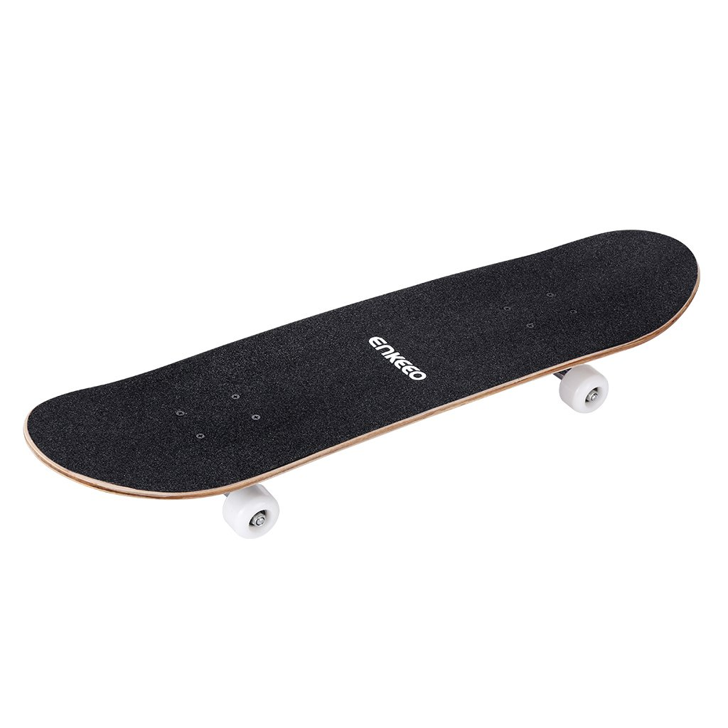 ENKEEO 32 Skateboard Complete 9 Ply Maple Wood Double Kick Concave Skateboards, ABEC-9 Tricks Stake Board for Beginners and Pro