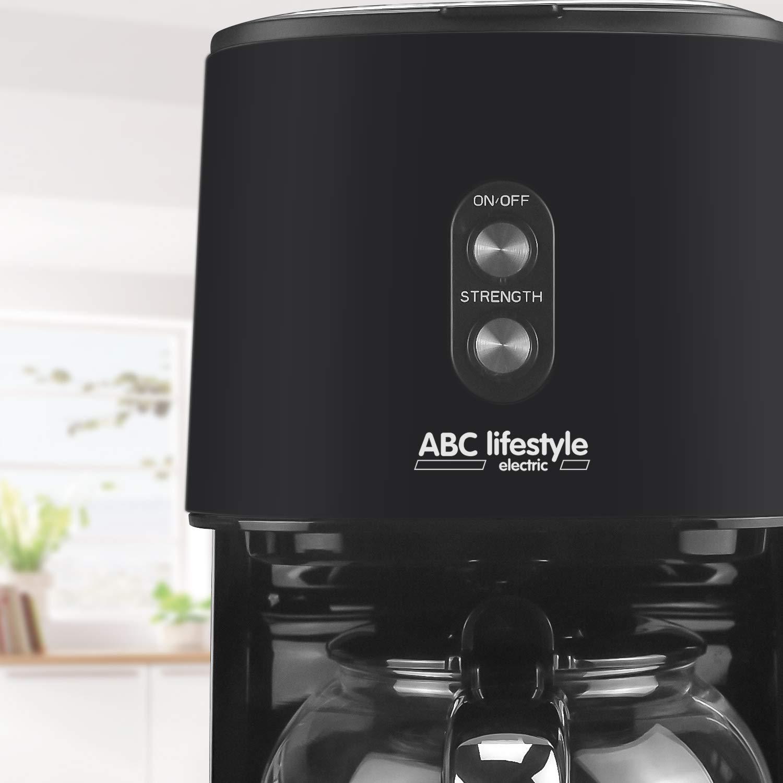 Cafetera de filtro retro con filtro permanente placa calentadora apagado autom/ático beige cafetera de dise/ño retro con jarra de cristal de 1,5 litros hasta 12 tazas no gotea