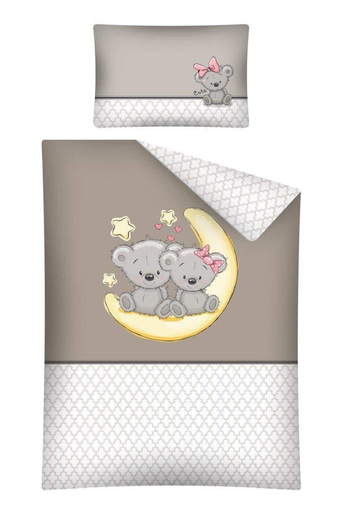 Kinderbettwäsche Bettwäsche 100x135 + 40x60 Babybettwäsche Bär 2664B Beige Grau Detexpol