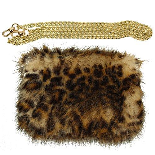 Winter CC Faux Fur Furry Crossbody Shoulder Handbag Wristlet Clutch Purse Leopard (Leopard Clutches)