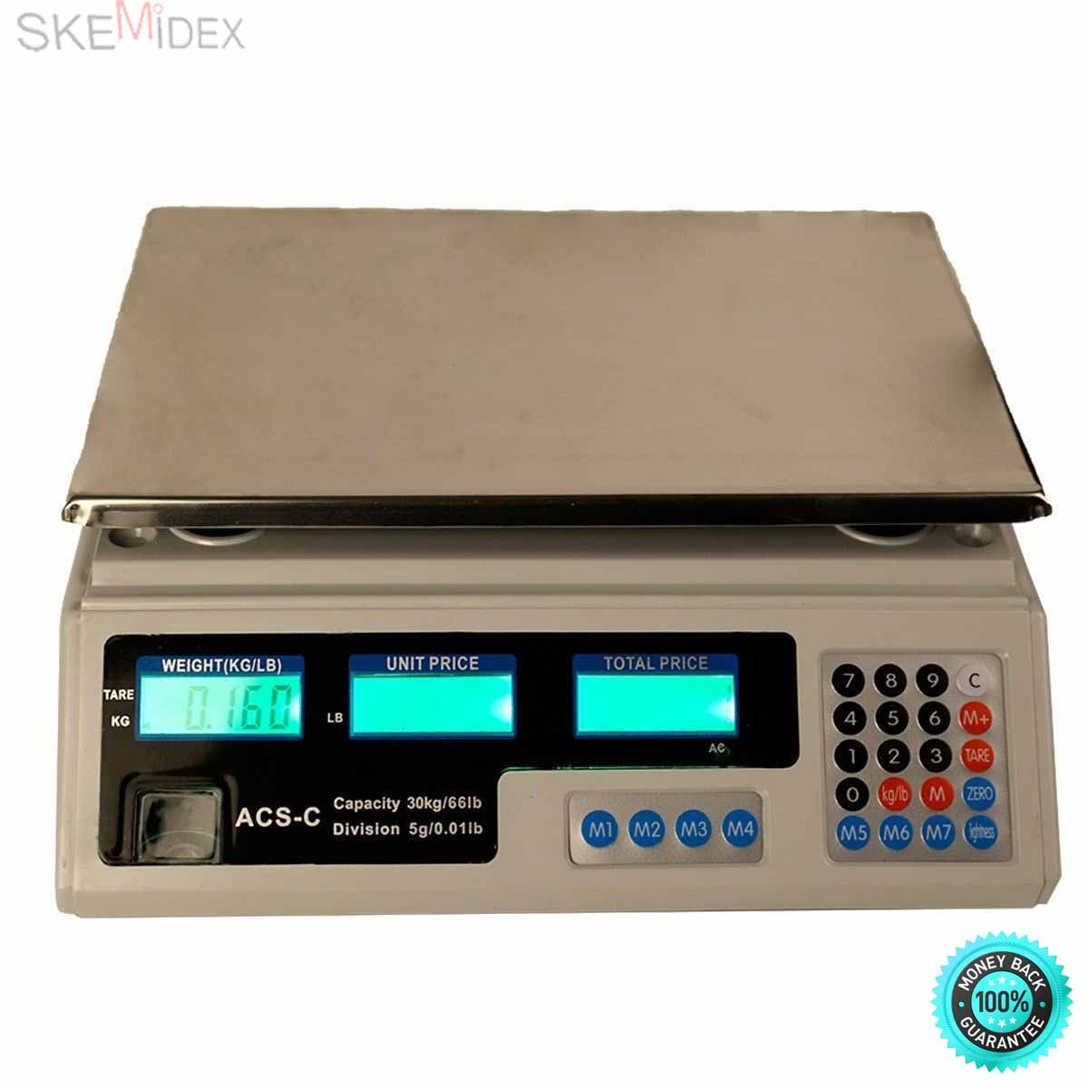 SKEMiDEX--- 66Lbs Digital Weight Scale Price Computing Retail Food Meat Scales Count Scale Suitable For Super Markets, Grocery Stores And Other Retail Outlets Tare Function: Measure The Net Weight by SKEMiDEX