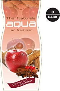 Aqua Apple Cinnamon Air Freshener | Hanging Drop Long-Lasting Perfume | Famous Fruit Scent | for Cars, Closet, Drawers | Apple Cinnamon, Pack of 3