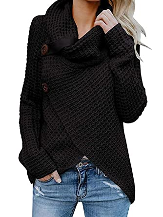 a939a1fda04472 Takakei Womens Sweaters Turtle Cowl Neck Chunky Cable Knit Button Wrap Pullover  Sweater Coats (US
