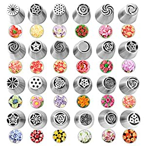 Amazon.com: 24Pcs Russian Piping Tips for Cake Baking