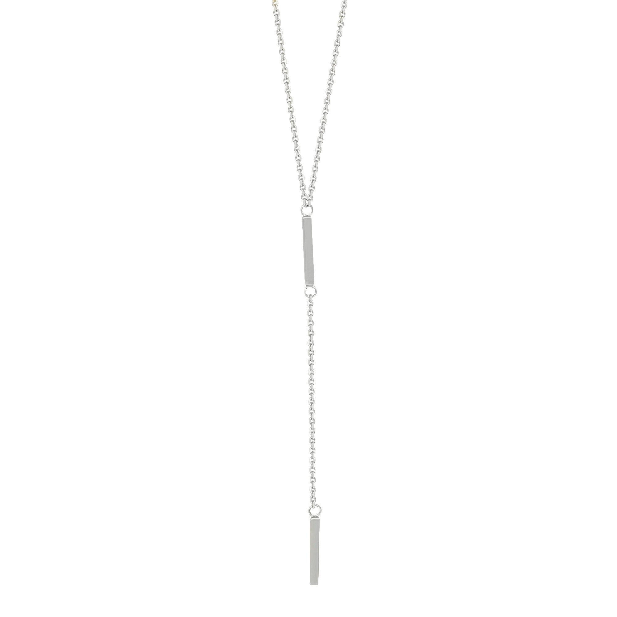 14k White Gold Lariat Necklace with Two Bar Drops Y-style Adjustable Length by AzureBella Jewelry