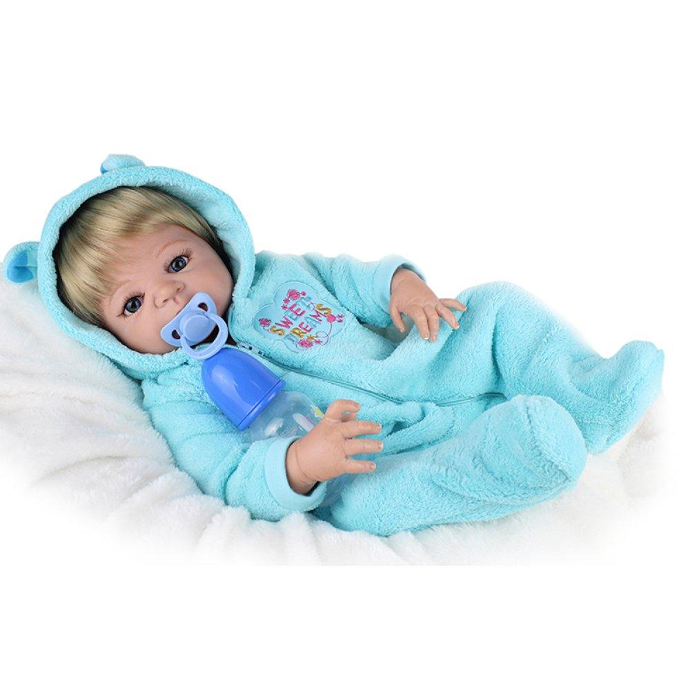 LZTET 22-Zoll-Simulation Wiedergeburt Puppe Baby Weich Junge Geburtstagsgeschenk Reborn Körper-Silikon-Vinyl-Puppe Voll Lebendig